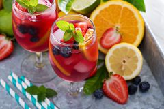 Ice cold red sangria with citrus fruits Royalty Free Stock Photography