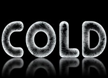 Ice Cold Reflection. The word COLD is spelled in frosty frozen letters on a black background with a reflection. Computer generated Stock Images