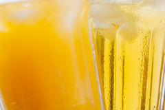 Ice cold summer drinks in sunlight garden Royalty Free Stock Photos