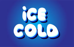 Ice cold text 3d blue white concept vector design logo icon Royalty Free Stock Images