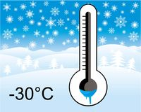 Ice cold thermometer, winter landscape Royalty Free Stock Images