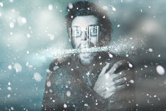 Ice cold winter man in a freeze of snow and frost Royalty Free Stock Images