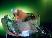 Ice. Colour. Easy. Transparency. Bubbles, green background, color royalty free stock photos