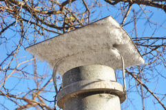 Ice Condensation Around Alu. Winter season and seasonal specific. Ice Condensation Around Aluminum Asbestos Chimney Royalty Free Stock Photo