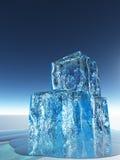 ICE. Cool Blue Ice Cubes Melt Stock Image