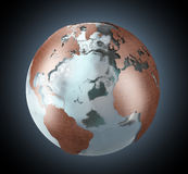 Ice and copper Earth. Earth globe with continents made of copper and the oceans of ice Royalty Free Stock Images