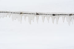 Ice covered barb wire. By a snowy background Royalty Free Stock Images
