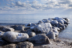 Ice covered bulkhead at baltic sea Stock Photo