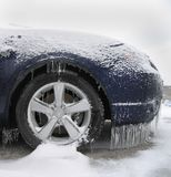 Ice Covered Car. Front of car covered after an icestorm Royalty Free Stock Image