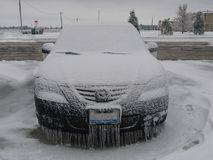 Ice Covered Car royalty free stock images