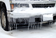 Icicles on car bumper Stock Images