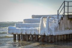 Ice Covered Dock on Danish Seashore Stock Photography