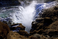 Ice covered Golden Falls, Gullfoss waterfall, Iceland. Stock Photography
