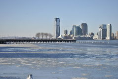 Ice covered hudson river, new york city Stock Photos