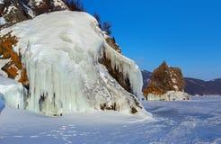 Ice covered island Lohmaty. Royalty Free Stock Photo