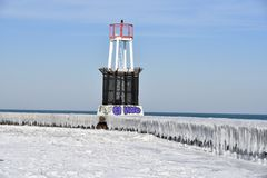 Ice Covered Jetty Royalty Free Stock Photography