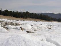 Ice-covered Lake Baikal. Spring. Royalty Free Stock Image