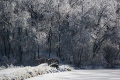 Ice-covered landscape in Iowa royalty free stock photography