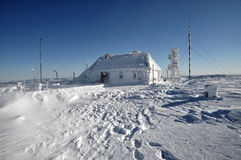 An ice-covered meteorological station Stock Photography