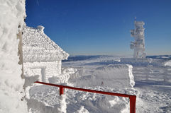 An ice-covered meteorological station Stock Photos