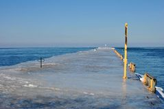Ice Covered Pier Royalty Free Stock Photo