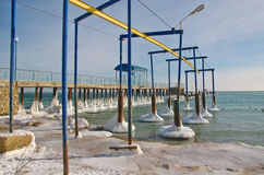 Ice-covered pier Royalty Free Stock Images