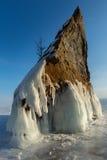 Ice covered rocks near island Lohmaty. Royalty Free Stock Photo
