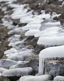 Icicles on rocks. Ice covered rocks by a river Royalty Free Stock Image