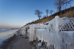 The ice-covered sea coast Royalty Free Stock Photography
