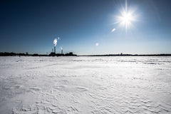 Ice covered sea. Freezing day on the ice covered sea in Finland Royalty Free Stock Image
