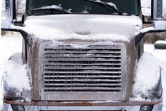 Ice-covered semi truck front view Stock Images