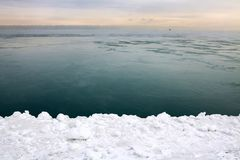 Ice covered shoreline Stock Photo