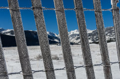 Ice Covered Snow Fence with Mountains in the Background Stock Photos