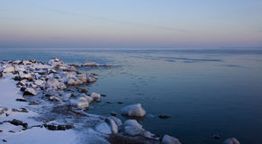 Ice Covered Stone on Superior Shore Royalty Free Stock Images