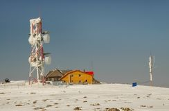 Ice covered weather station Royalty Free Stock Images