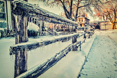 Ice Covered Wooden Fence Stock Photography