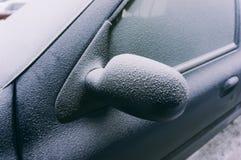Ice covering car door Stock Image
