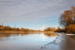 Ice covering  river in frosty day Stock Photo