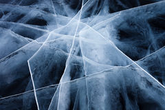 Ice crack. On Baikal surface Stock Photography