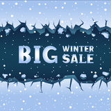 Ice crack winter sale. Big straight blue ice crack and falling snow. Text winter sale lettering Royalty Free Stock Photography