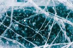 Ice cracked from the cold. Royalty Free Stock Photo