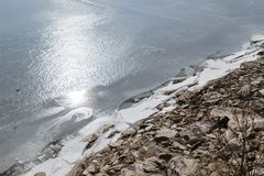 Ice cracking on a frozen river. Winter time, light reflecting on the ice, rocks and vegetation, spring time Stock Photography