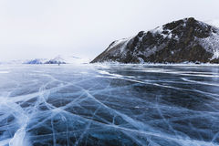 Ice cracks. On Baikal surface Stock Image