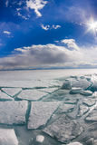 The ice cracks and hummocks on the ice of Lake Baikal from Olkho Royalty Free Stock Photo