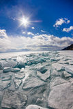 The ice cracks and hummocks on the ice of Lake Baikal from Olkho Stock Images