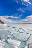 The ice cracks and hummocks on the ice of Lake Baikal from Olkho Royalty Free Stock Images