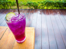 Ice crake lemon tea on wooden table Royalty Free Stock Photos