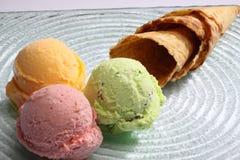 Ice cream. Delicious and tasty smooth ice cream strawberry, vanilla, milk, ice cream cone desserts Royalty Free Stock Photo