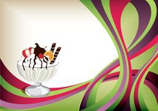 Ice cream. Vector of ice cream on abstract curve background royalty free illustration