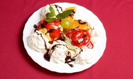 Ice cream. With fresh fruits and jam stock images